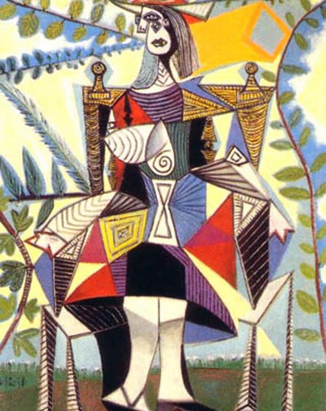 Best Seller Paintings: Femme Assise Dans un Jardin - Pablo Picasso