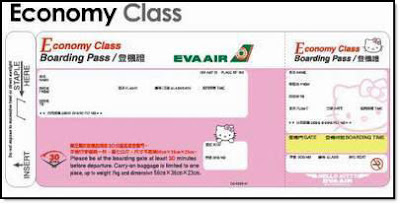 Hello Kitty airplane ticket