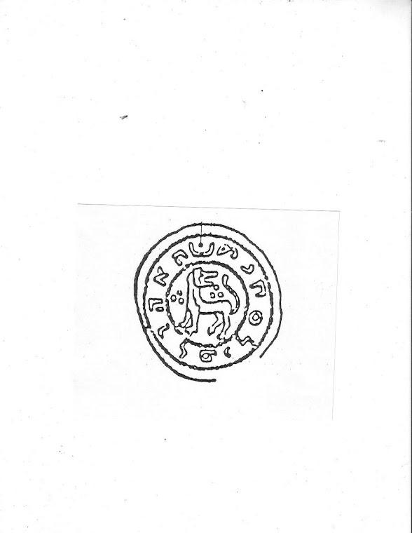 Moneta Piastow z napisem 'Mieszko krol Polski' literami hebrajskimi
