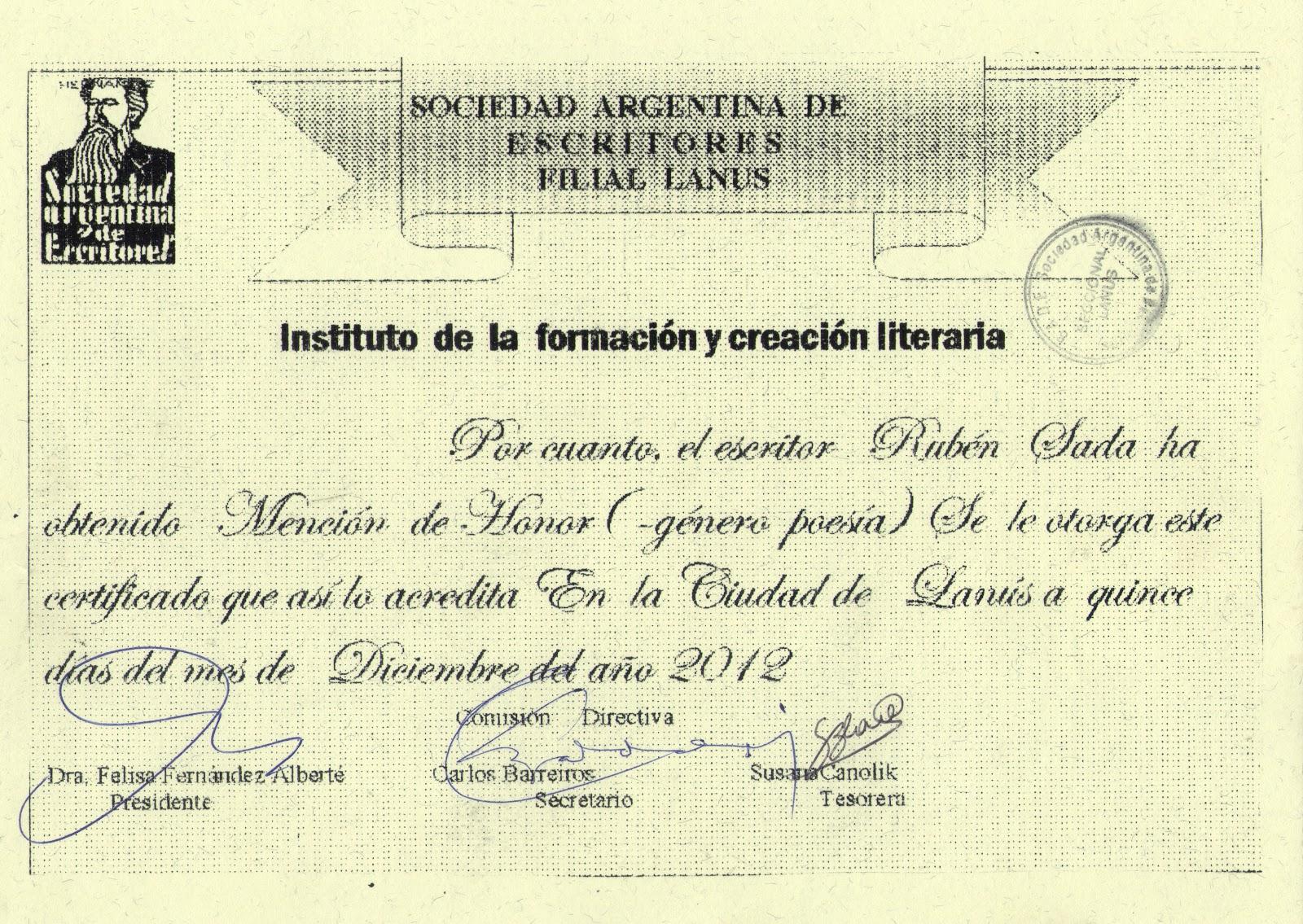 Currículum Vitae del Escritor Rubén Sada | Premios y Reconocimientos ...