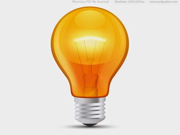 Glossy Orange Light Bulb PSD