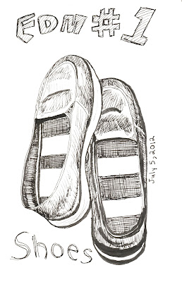 EDM 1 - Draw your shoes. Shoes, pen and ink by Ana Tirolese ©2012