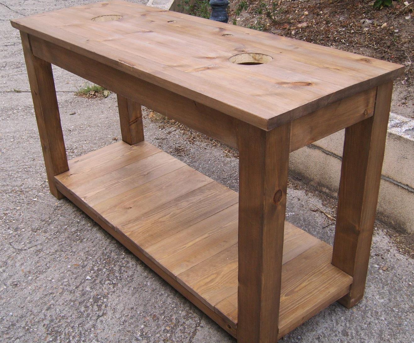 Mesa lavabo de madera dise o y estilo para el ba o for Mueble que se convierte en mesa