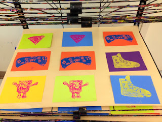 Students Made Multiple Copies Of Their Plate Which The Printmaking Process Allows Us To Do We Experimented With Different Colors And Everyone Pulled