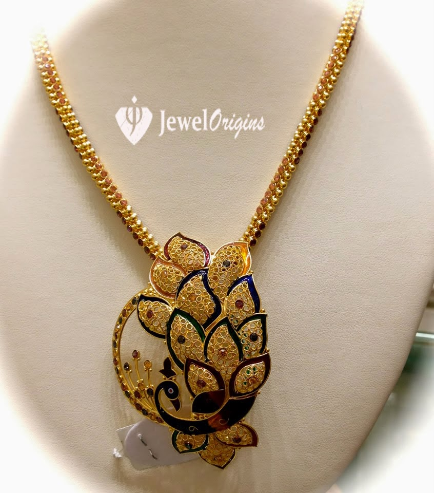 22 carat gold floral designer pendant with multiple beads chain and - 22 Carat Gold Chain With Enamel Work Beautiful Peacock Designer Pendant