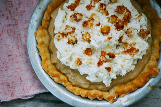 Butterscotch Cream Pie with Hazelnut Praline