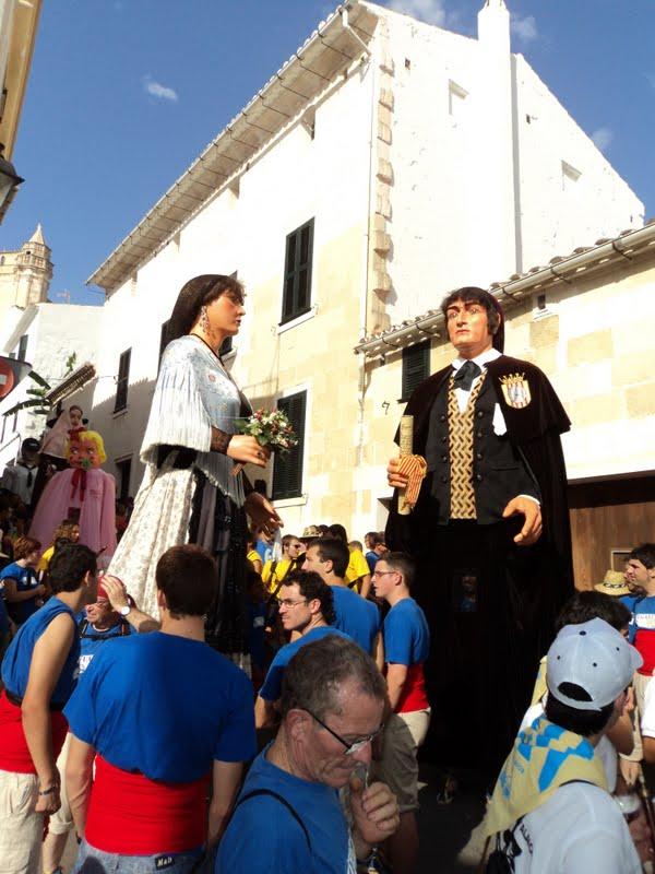 La Candelera i en Bernat, durant la seva visita a Alaior // Diari geganter digital de Menorca