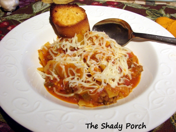 A bowl of Lasagna Soup for those nights you need an easy-to-make dinner.