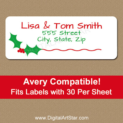 holly christmas address labels template