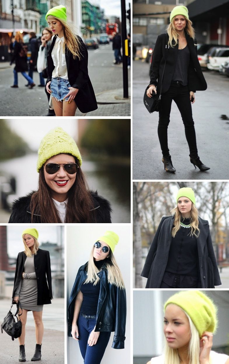 how to wear neon beanie, street style, fashion bloggers, Elin Kling, Victoria Tornegren, Alice Point
