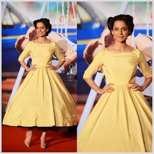 Kangana In Yellow Plain Full Skirt Dress By Delphine Manivet