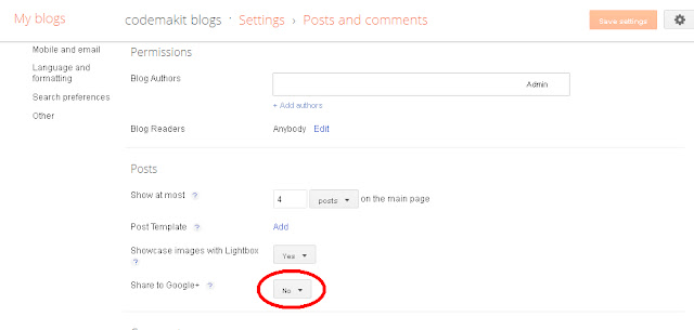 Share your blogger posts to your Google plus Circle Screenshot