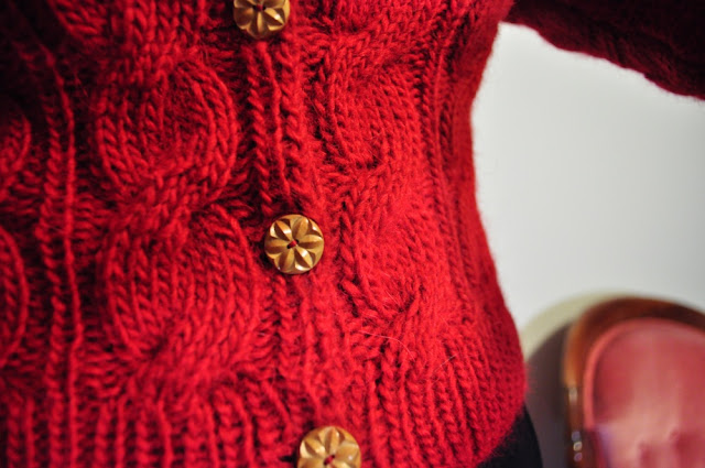 50s repro knitted cardigan in red merino wool by Cherise