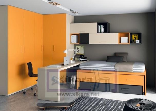 Dormitorio juvenil con armario de rincon,dos camas cruzadas y mesa de