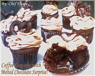 Coffee Cupcake with Chocolate Surprise and Coffee Butter Cream