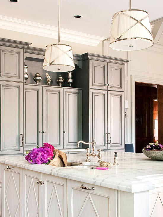 A perfect gray gray kitchen cabinets for Better homes and gardens painting kitchen cabinets