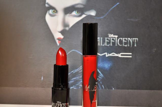 MAC Maleficent True Love's Kiss lipstick, Anthurium Pro Longwear Lipglass