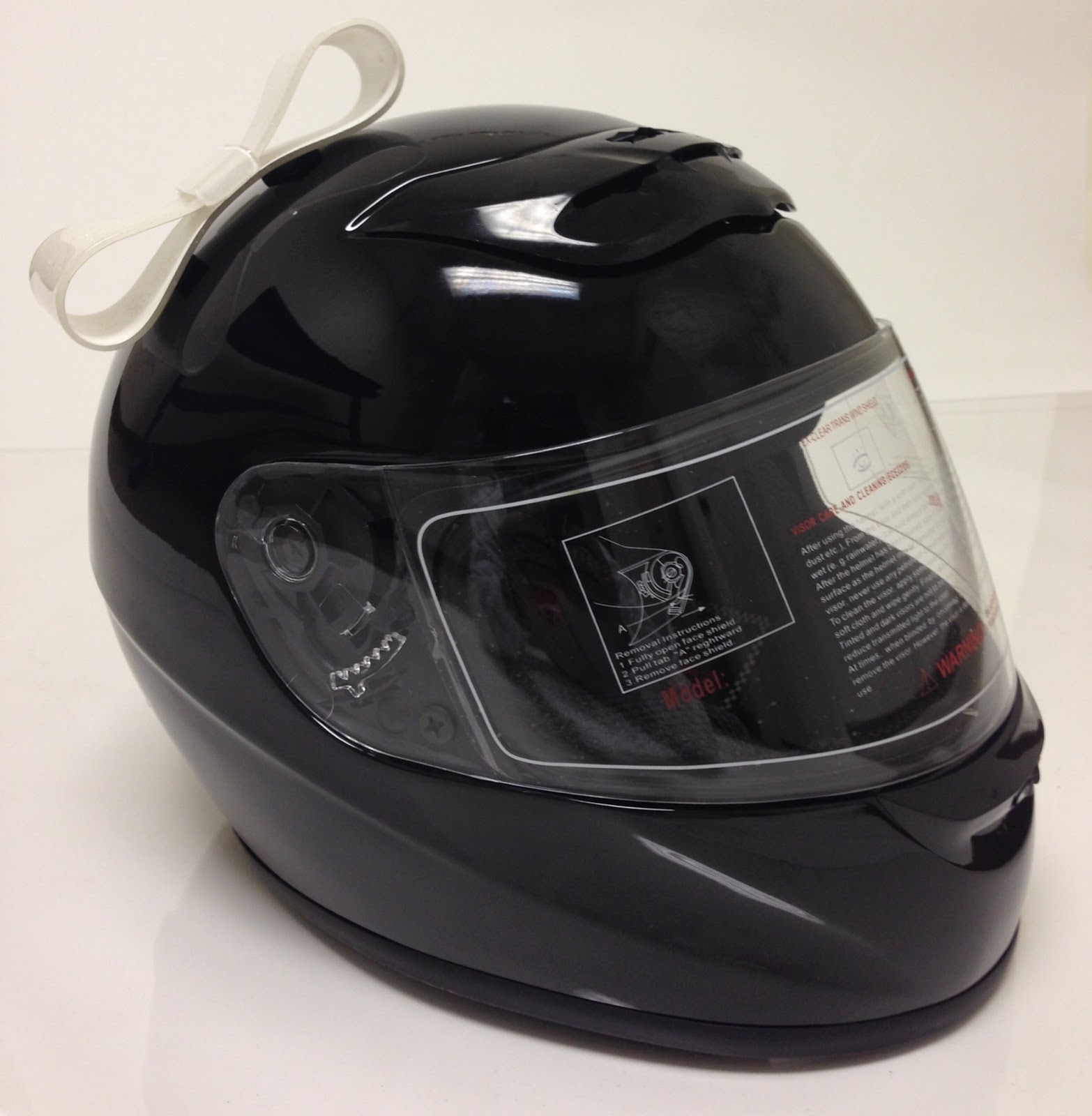 White Motorcycle Helmet Bow