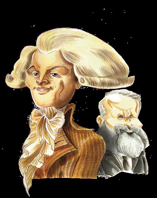 Caricature Robespierre et Jean Jaurès