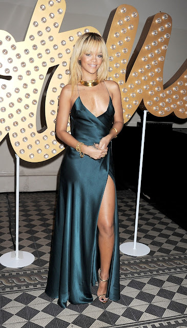 Rihanna in long green dress