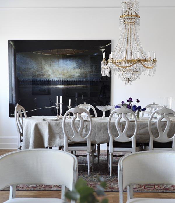 comedor de sillas gustavianas blanco piedra