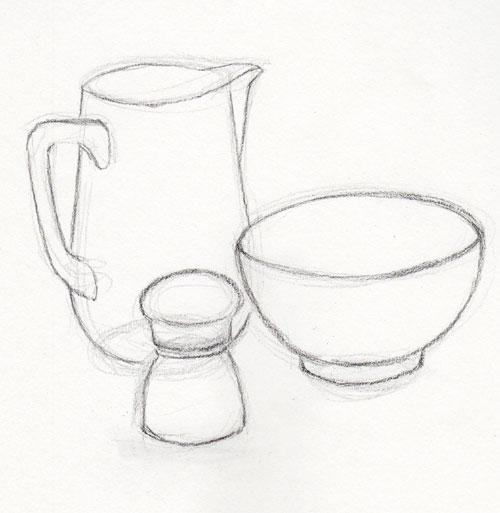 Line Drawing No Shading : Pen pencil paper—draw drawing a still life
