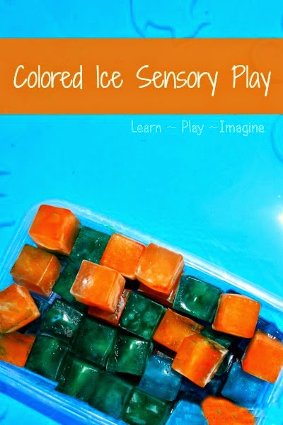 Simple summer sensory play with colored ice - I want to make some right now!