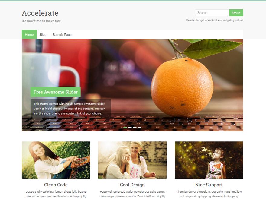 Accelerate - free minimal WordPress theme