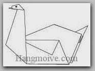 Bước 8: Vẽ mắt để hoàn thành cách xếp con chim thiên nga bằng giấy theo phong cách origami.