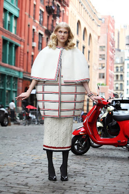 woman wearing thom browne, woman in nyc with vespa scooter