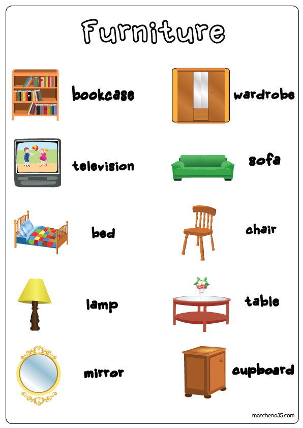 English Vocabulary for the Living Room  Pictures and Words