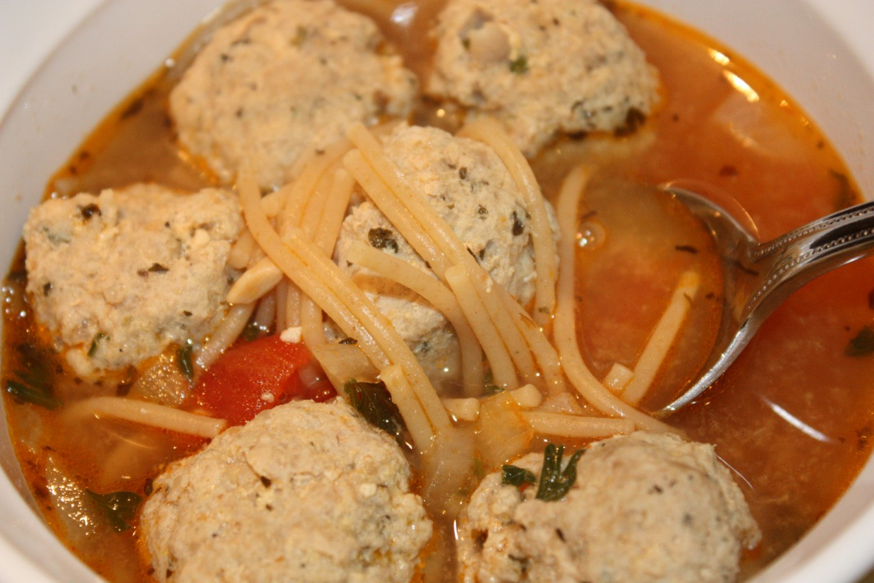 pass the peas, please: meatball and spaghetti soup