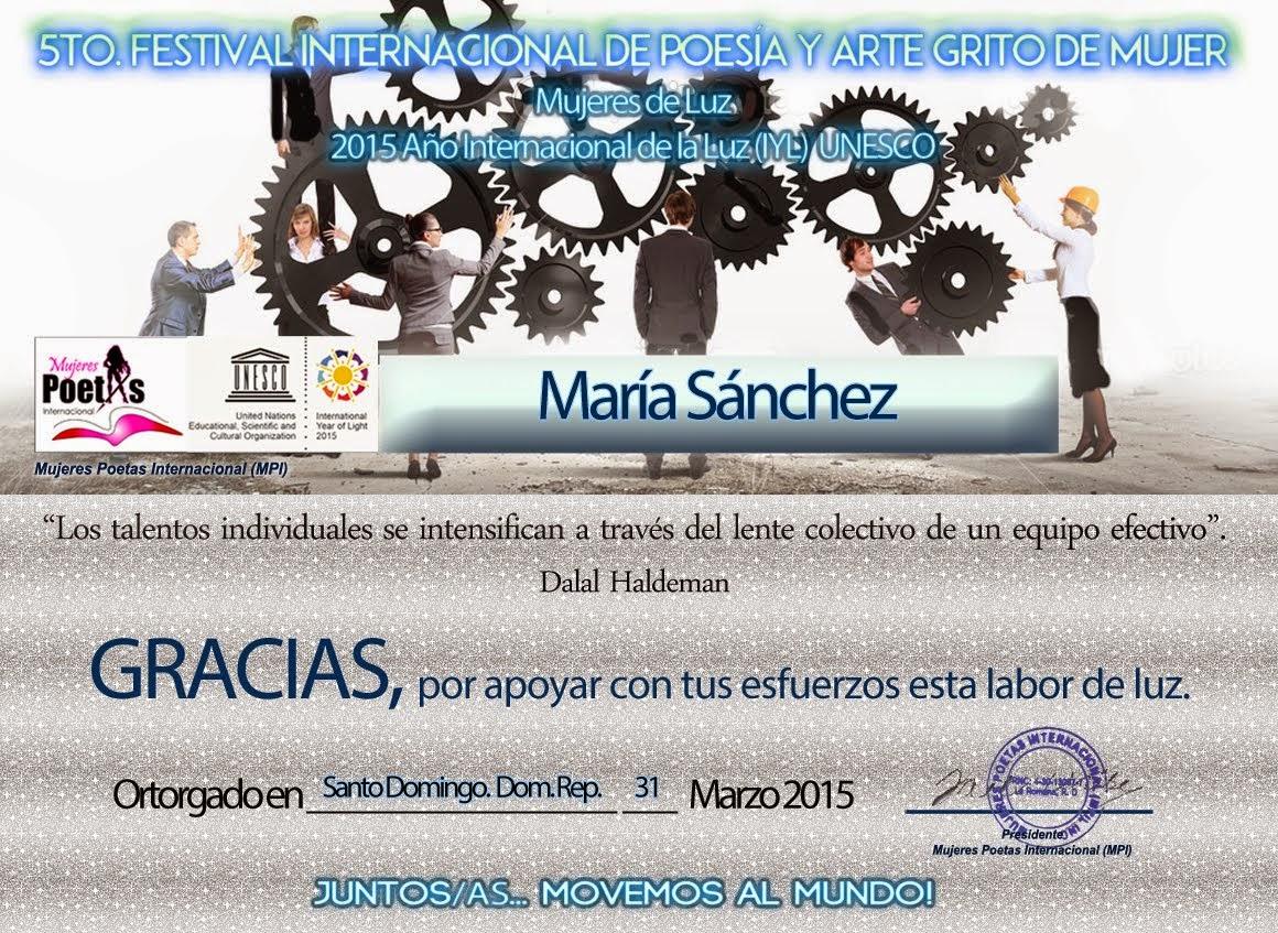 Diploma de gratitud por el trabajo de equipo en el 5º Festival GRITO DE MUJER
