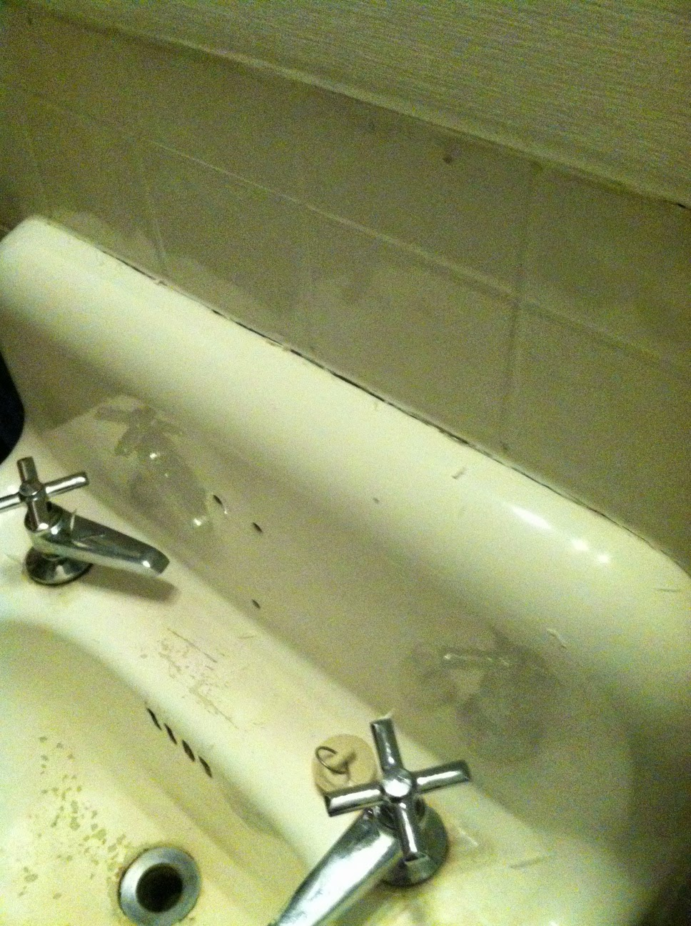 Remove caulking from old sink