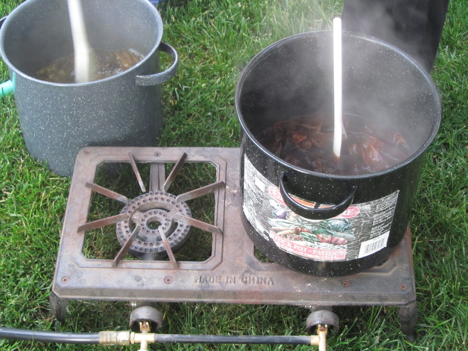 Chemknits natural dyeing silk scarves on mackinac island Propane stove left on overnight