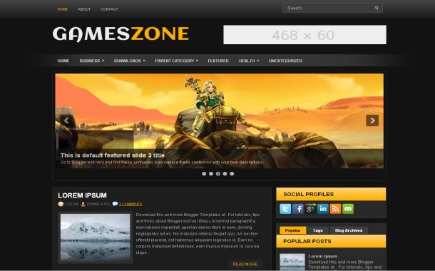 Free Black Yellow Games Jquery Blogger Template