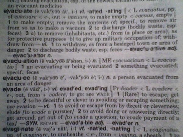 what is the definition of evacuate