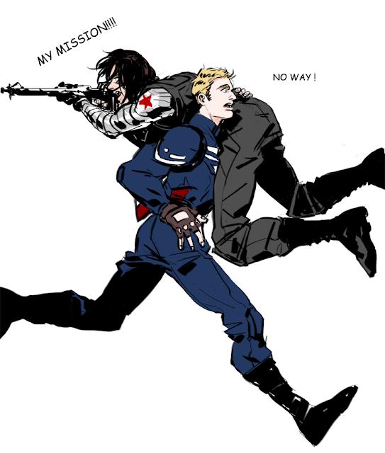 Na imagem: fanart que mostra o Capitão América correndo com o Soldado Invernal nas costas