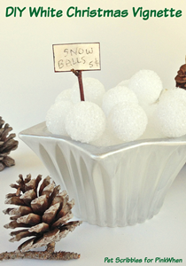 "Painted Crystal Votive Holder plus styrofoam ""snowballs"" by Pet Scribbles"
