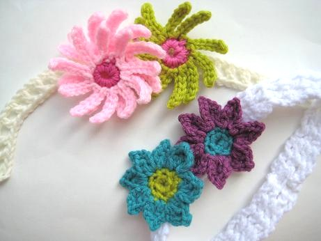 Crochet Pattern For A Flower Headband : Crochet Dreamz: Baby Headband with Flowers (Free Crochet ...