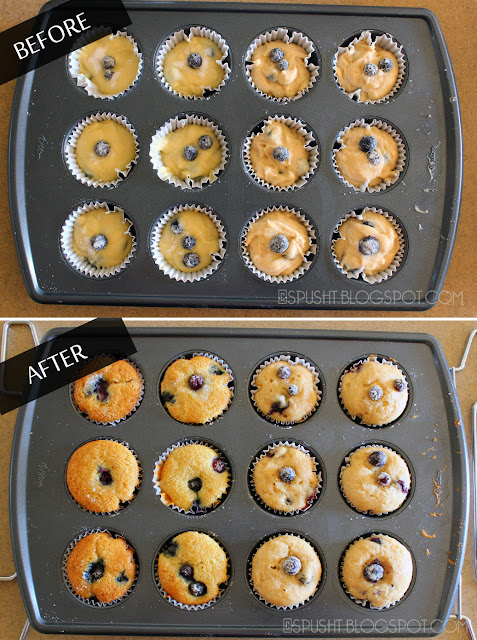 before and after: baked 6 muffins each for the two recipes tested