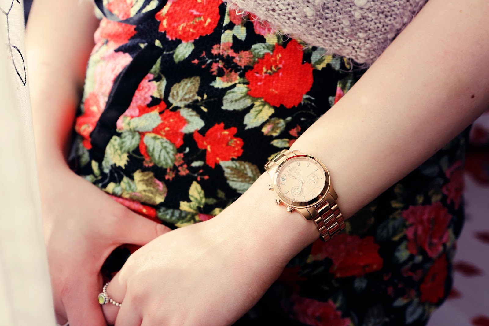 Michael Kors Rose Gold watch and pandora birthstone ring
