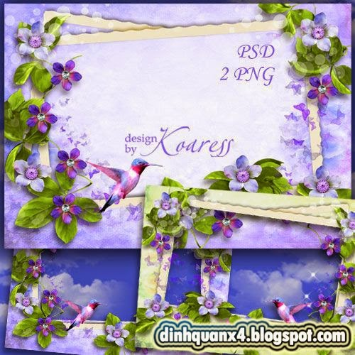 Floral photo frame - Flight of hummingbird