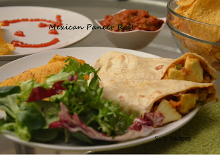 Mexican Paneer Wrap, cottage cheese, roti roll, chapati wrap/roll, capsicum and cottage roll, kati roll