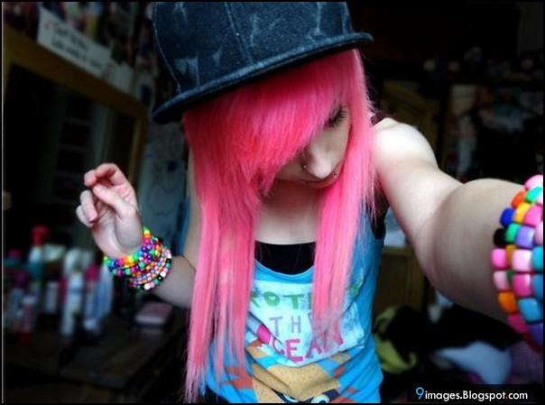 scene girl pink nude emo