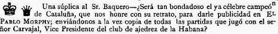 Nota aparecida en la revista solicitando una fotografía de Baquero en la revista El Pablo Morphy