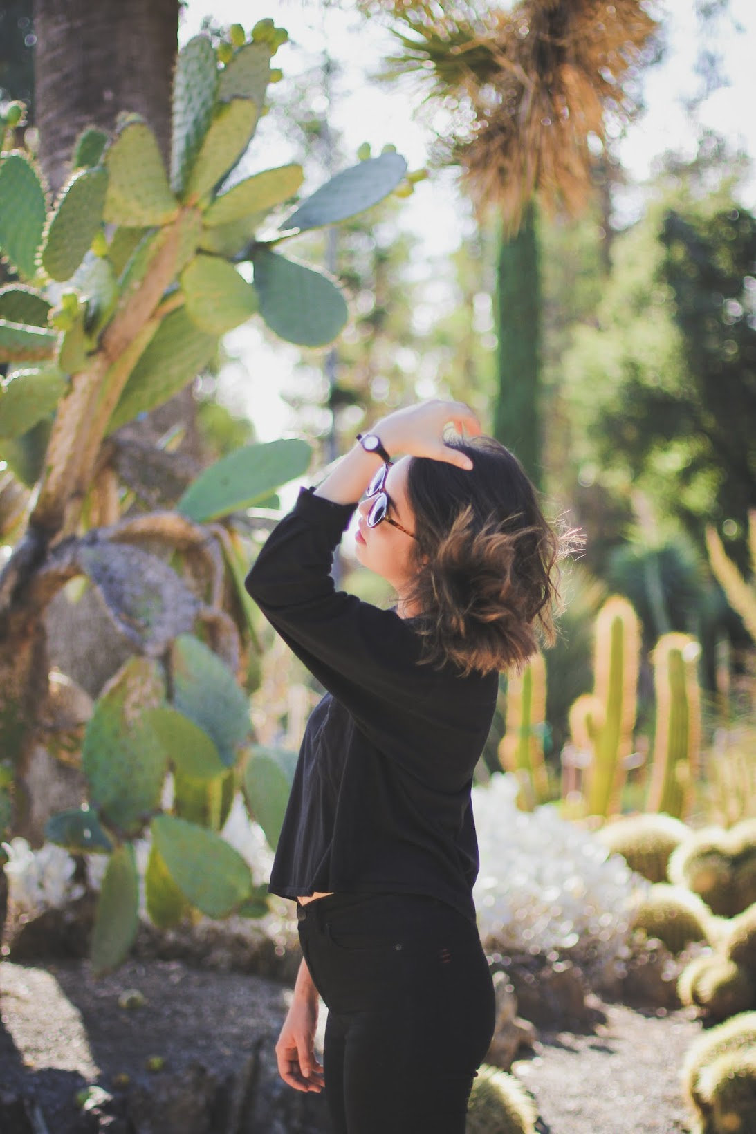 Black American Apparel top in a cactus garden.