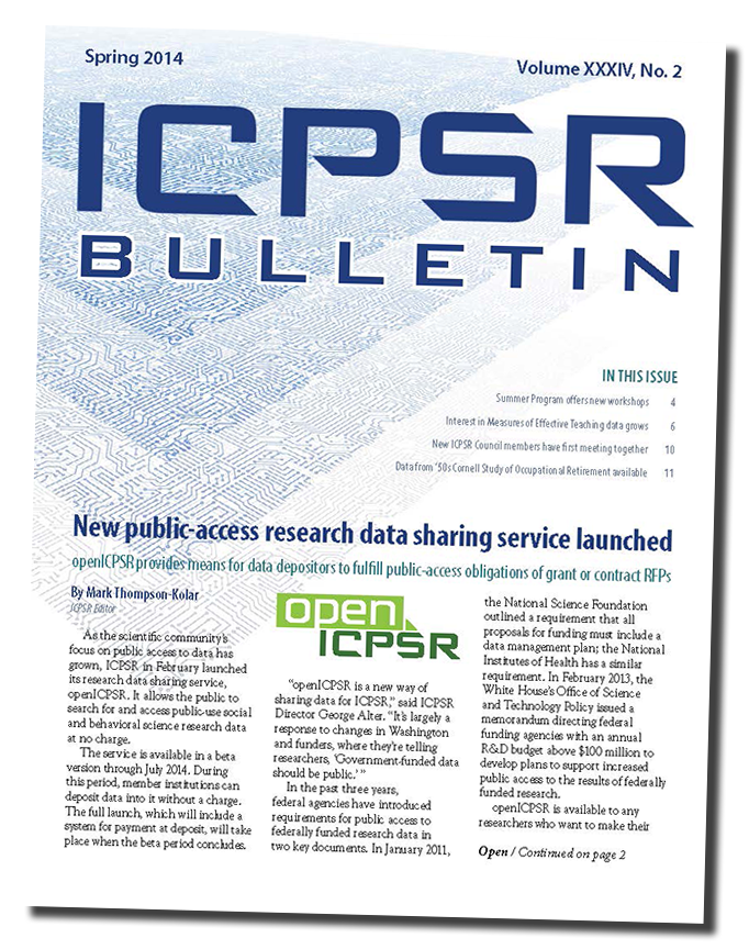 Image of the ICPSR Bulletin, Spring 2014 edition cover