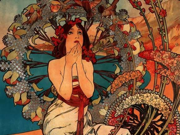 Alphonso Mucha Art Painting Wallpapers 09