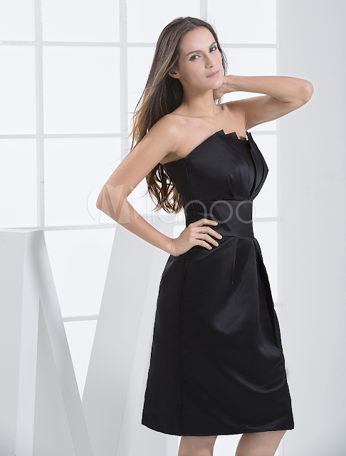 China Wholesale Clothes - Gorgeous Strapless Wrapped Satin Cocktail Homecoming Dress
